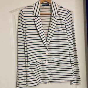 Tart cotton blazer, cream/chambray blue stripes XS